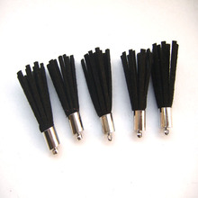 10Pcs Black Suede Leather Jewelry Tassel For Key Chains/ Cellphone Charms Top Plated End Caps Cord Tip