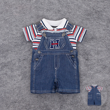 2Pcs 2016 Summer Infants Baby Boys Cloth Set T-shirt Top+Bib Pants Jumpsuit  Denim Overall Costume