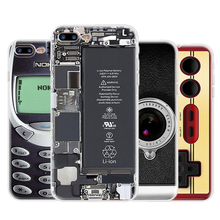 Funny Soft TPU Transparent Case for iPhone 5 5S SE 6 6S 7 Plus Nokia Gameboy Camera Phone Battery Broken Screen Pattern Cover