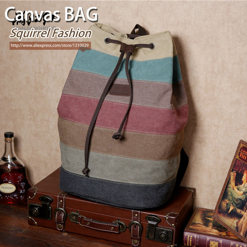 Squirrel fashion color block canvas Korean style patchwork daily backpacks rainbow panelled vogue hipster rucksacks travel bag<br><br>Aliexpress