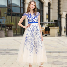Buy 2017 Autumn New Maxi Dresses Women High Waist O-Neck Long Sexy Dress Mesh Patchwork Robe Embroidery Vestido Longo de Festa N618 for $39.89 in AliExpress store