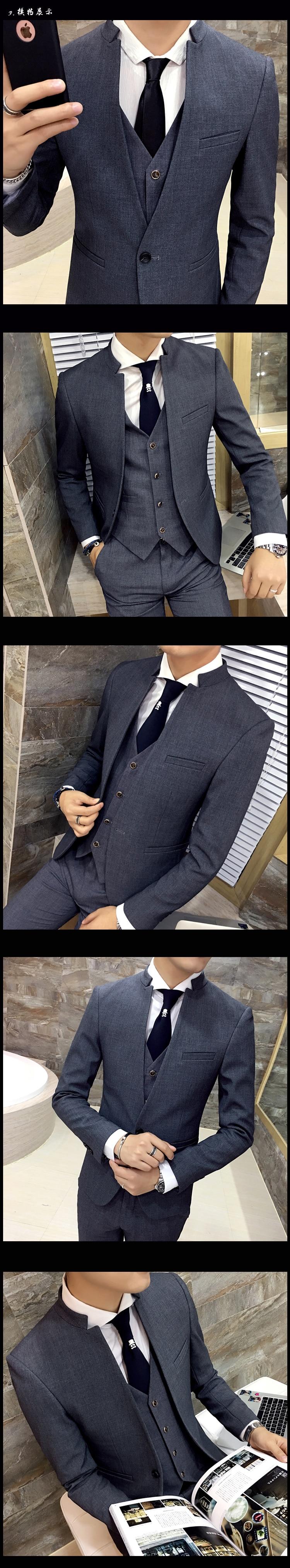 HTB1SKb0SFXXXXXrXFXXq6xXFXXX8 - 2017 new Korean wedding dress stand collar suit jacket men's self-cultivation business casual good quality suits male jacket