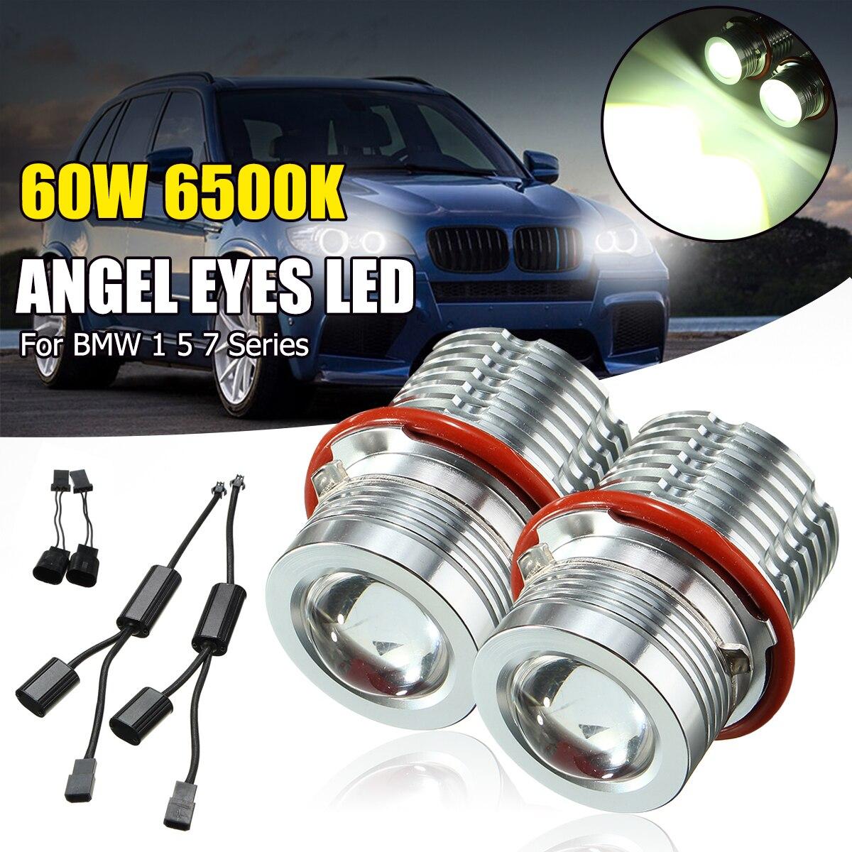 LED Angel Eyes Halo Ring Bulbs 80W 6000K White for BMW E39 E60 1-series 5-series 7-series X-series 2 Sets