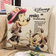 2017 Cute Mickey and Minnie Cartoon Anime Cushions Cover for Office Bedding Cushion Cotton Linen Decorative Bed Pillow