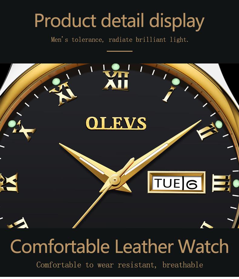 HTB1SKbmbvMTUeJjSZFKq6ygopXaG - OLEVS Luxury Men Gold Watches High Quality Watch Men's Quartz Date Clock Male Week Display Wristwatch Steel relogio masculino