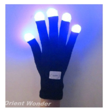 Party LED Gloves Rave Light Flashing Finger Lighting Glow Mittens Magic Black Gloves Party Accessory 200pcs (100 pairs)(China)