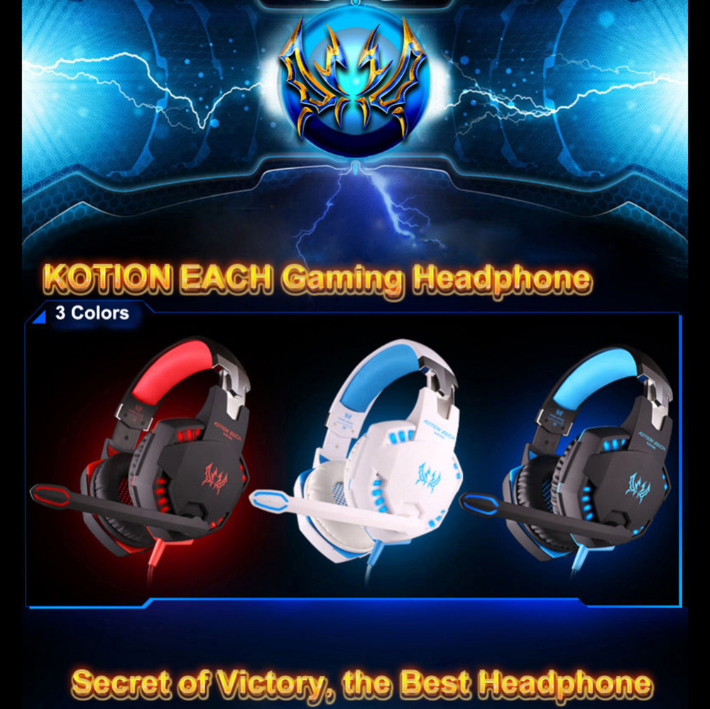 G2100 Gaming Headphones Studio Headset 3.5mm USB Earphones Suppor Mic Stereo LED Light for Mobile Phone Computer Portable Media<br><br>Aliexpress