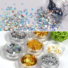 ELESSICAL 6Bottle/Lot Mixed Size Sequins Nail Art Decorations Magnetic Laser Ultra Thin Slice Nail Glitter Acrylic Powders WY819