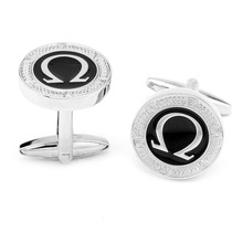 Silver Tone Black Enamel Round Greek Letter Cufflinks Mens Shirt Cuff Links Cufflinks High Quality(China)