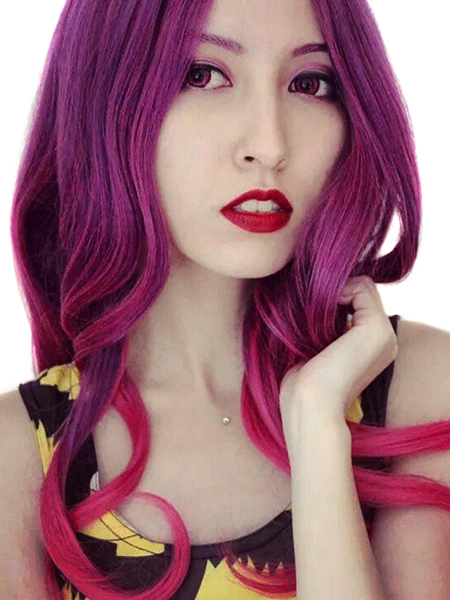 2015 New Movie Guardians of the Galaxy Gamora Wig Synthetic Wig Gradient Purple mixed Pink Anime Peruca Quality Cosplay Wigs<br><br>Aliexpress
