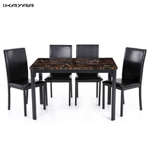 iKayaa US UK FR Stock 5PCS Modern Kitchen Furniture Dining Room Table Chair Set for 4 Person Marble-like Top Max 180kg Capacity