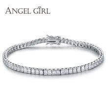 Angel Girl AAA+  Elegant Square 4mm CZ Tennis Bracelets for Woman White Gold colour Princess Cut CZ Wedding Jewelry 3 size