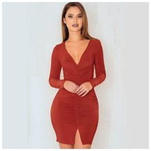 Women's Fold Split Party Dresses Spring Autumn Winter Warm Mini Sexy Evening Club Bandage Women Dresses(REDDISH BROWN)