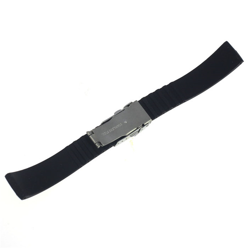 NEW Fashion watch band 18mm, 20mm, 22mm, 24mm Silicone Rubber Watch Strap Band Deployment Buckle Waterproof #M01 (6)