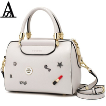 AITESEN Cute Little Badge Decoration Boston Bag Practical Fasion Leather Handbag High Quality Femme Nouvelle Collection Designer(China)