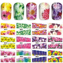 YZWLE Gothic Blooming Flower Nail Art Water Decals Transfer Full Sticker 12pcs/Sheet A877-888(China)