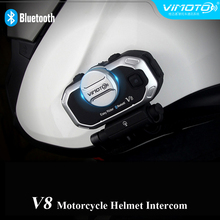 Wireless Vimoto Brand V8 Multi-functional Motorbike Rider Talking System BT Interphone Bluetooth Motorcycle Helmet Headsets(China)
