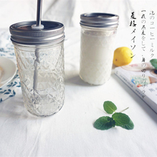 Diamond Lattice Mason Jar Double Covers Transparent Glass Hole Vegetables Food Ice Cream Mug Juice Coffee Cup(China)