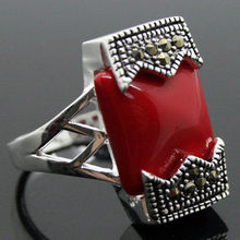 Free shipping 12*20mm FANCY RARE VINTAGE RED CORAL BELT 925 SILVER MARCASITE RING SIZE 7/8/9/10(China)