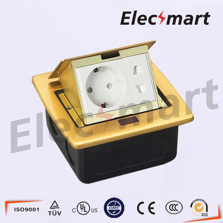 European standard pop-up ground box/golden color floor box 220V 10A brass alloy electrical socket<br><br>Aliexpress