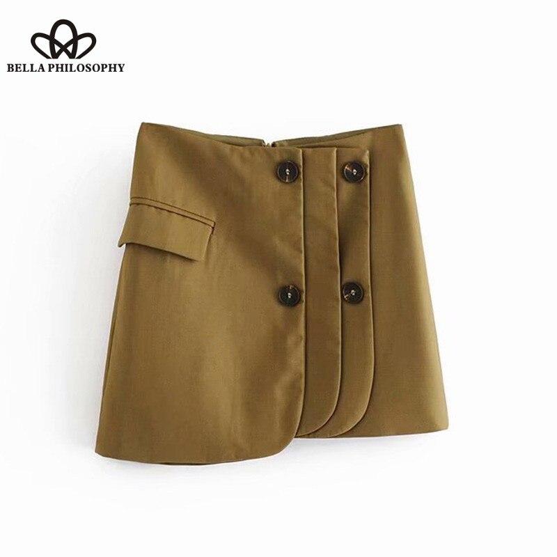 Wonder 2018 new Vintage Stylish Buttons Asymmetrical Mini Skirt Back Zipper Streetwear Ladies Chic Skirts Casual Faldas Mujer