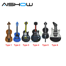 Fashion U disk pendrive cartoon musical guitar/violin/piano/harmonica/Musicial note pendriver pen drive 8GB 32GB usb flash drive(China)