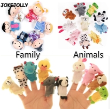 Baby Plush Toy Finger Puppets Tell Story Props 10pcs Animals or 6pcs Family Doll Kids Toys Children Gift GYH(China)