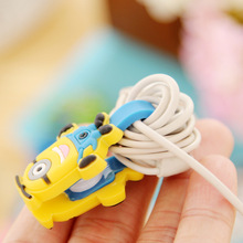 Cartoon button cable organizer management phone earphone USb cable winder holder for iphone cable android computer headphone