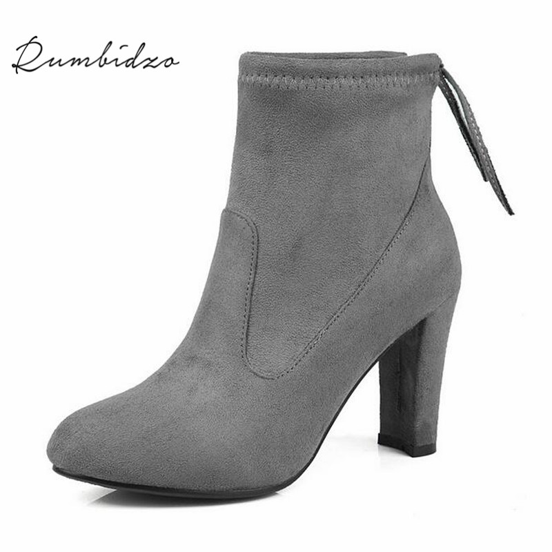 Rumbidzo 2017 New Women Boots Pinted Toe Woman Ankle Winter Boots Zipper Short Plush Chunky Strange Style High Heels Bootie <br>