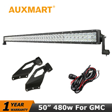 "Auxmart LED Light Bar for GMC Sierra Chevrolet Silverado 1999-2006 Straight 5D 480W 50"" Fog LED Work Llight Bar Mount Bracket(China)"