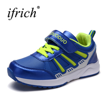 2017 New Children Shoes Boys Leather Kids Sneakers Girls Lace Up Children Running Shoes Blue Kids Walking Trainers Cheap(China)