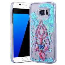 Campanula Clear Dynamic Liquid Glitter Colorful Quicksand Star Phone Case For samsung galaxy S5 S6 S6edge S7 S7 Edge Blue Heart
