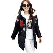 2016 new winter jackets and coats Korean yards women long thin coat down padded jacket middle-aged clothing vestidos AH025(China)