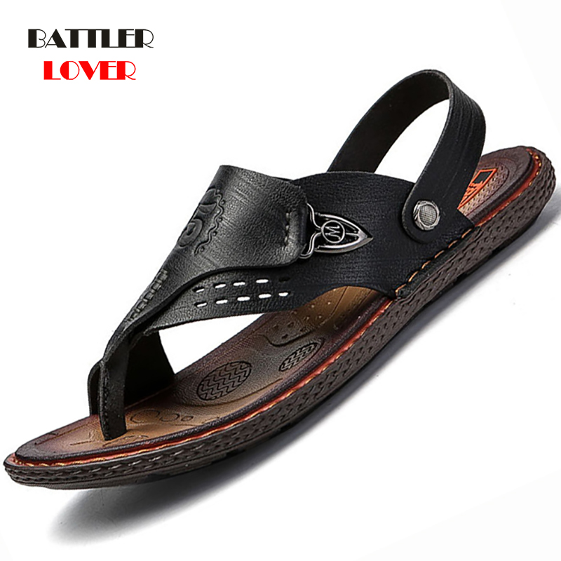 Genuine Cow Leather Shoes Men Fashion Men Flip Flops Trendy Anti-slip Leather Men