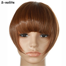 S-noilite Real thick Natural Bang False Hair Bangs black brown blonde auburn red Clip In on Synthetic Hair Fringe(China)