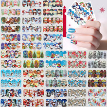 Nail Art Christmas Halloween Multi Style Water Transfer Stickers 3D Foil Santa Tree Snowman Owl Skull DIY Image Full Wraps Decal(China)