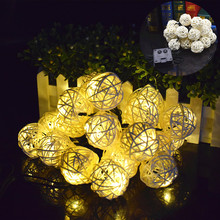 Solar Fairy Lights 9Meters Rattan Light String 20 LED Holiday Garden Christmas Wedding Lights Party Decoration Multicolor