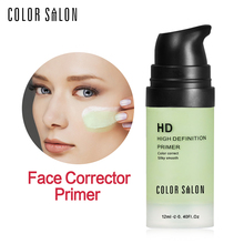 Color Salon HD Face Corrector Primer 12ml Smooth Makeup Base Contour Facial Concealer Cream Natural Make Up Moisturizer Cosmetic