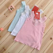 baby girl clothes 2016 Girls Fashion New Summer Lace Sleeveless T shirts  designer kids wear big girls clothes 2-6Y