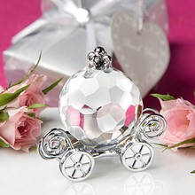 FREE SHIPPING(12pcs/Lot)+Baby Shower Favors Choice Crystal Cinderella Pumpkin Coach Crystal Carriage Baby Baptism Supplies