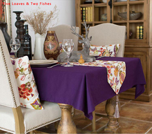 Free shipping Purple Table Runner Cotton Table Flags High Quality Table Cloth  Tassel Table Flag Flower Tablecloth
