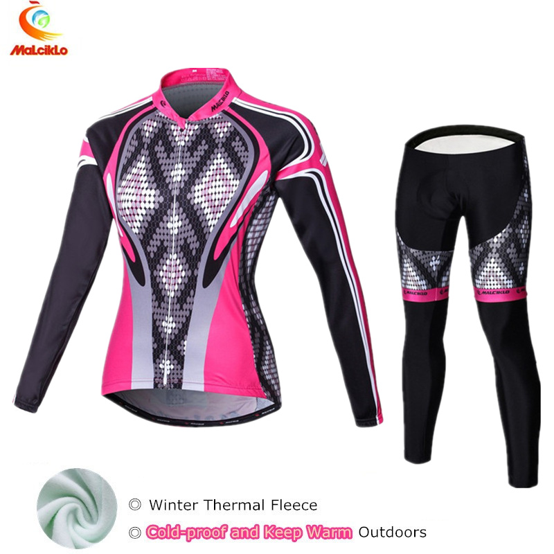 2017 Black&amp;Pink Winter Fleece Cycling Jersey Set Womens Bicycle Cycling Clothing Bike Wear Maillot Ropa Ciclismo Mujer Suit<br>