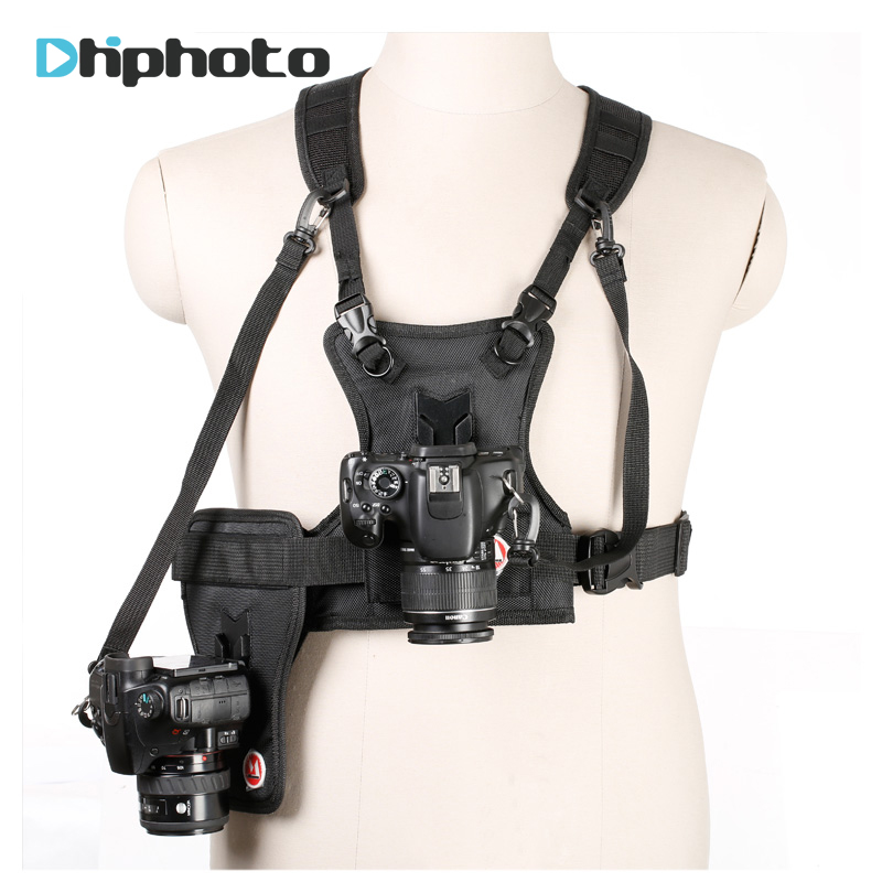 Carrier II Multi Dual 2 Camera Carrying Chest Harness System Vest Quick Strap with Side Holster for Canon Nikon Sony Pentax DSLR<br>