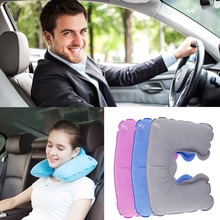 Inflatable Travel Pillow Air Cushion Neck Rest U-Shaped Plane Flight Portable New