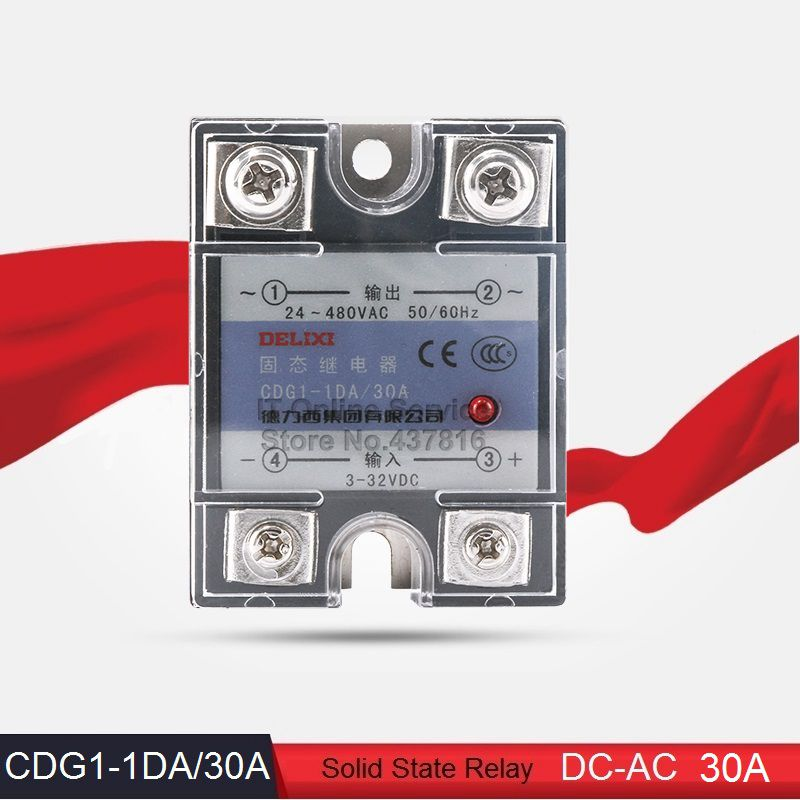 High Quality DC-AC 30A Solid State Relay Single Phase SSR 30A Input 3-32VDC Output 24-480VAC (CDG1-1DA/30A)<br><br>Aliexpress