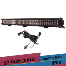 37'' Inch 4D Off Road LED Light Bar Combo 390W led Work Light Driving Lamp for Audi Q7 Range Rover 12v 24v 4x4 SUV ATV Truck DRL