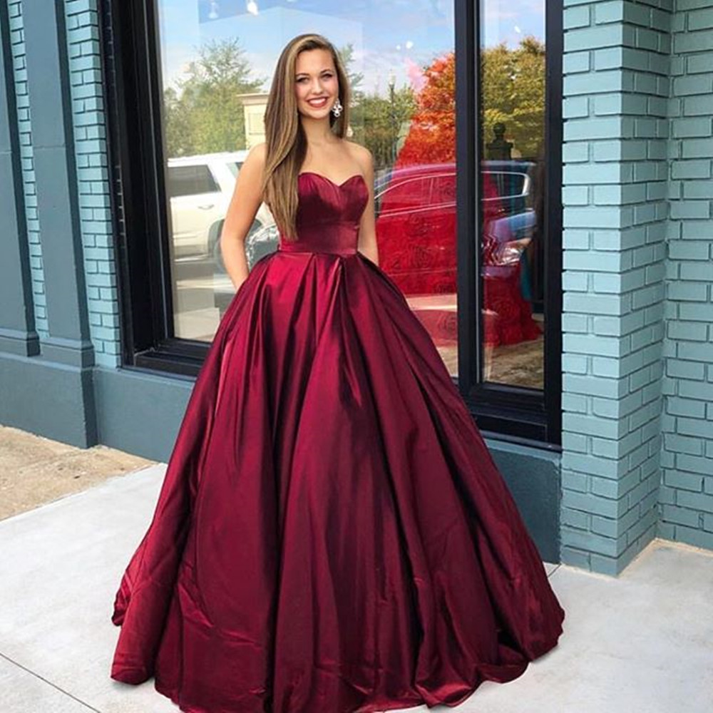Elegant Sweetheart Ball Gown Prom Dresses Corset Lace Up Back Satin Sleeveless Pageant Party Gowns Evening Vestidos de fiesta