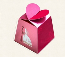 Creative Love heart shaped Wedding party favor Candy Box, romantic gifts bag paper chocolate packaging ,50PCS/lot