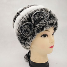 Genuine rabbit fur  leather Rex fur wool knitting Women Hat Winter Warm gifts hat  business gifts
