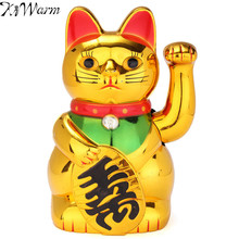 Hot Sale Plastic Gold Beckoning Waving Lucky Cats Figure Moving Arm Chinese Wealth Fortune Feng Shui Home Restaurant Decor Craft